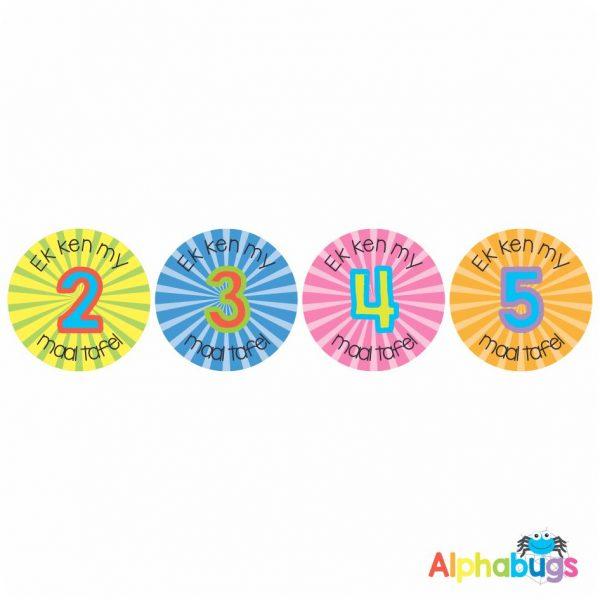 Afrikaans Stickers – Ek Ken My Tafels 1