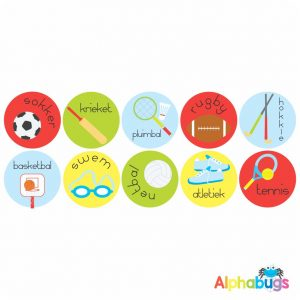 Afrikaans Stickers – Sports Stel 1