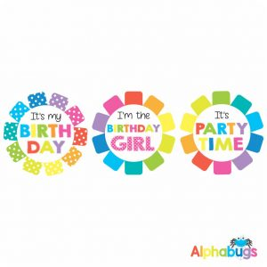 Birthday Badge Stickers – Rainbow Rosettes