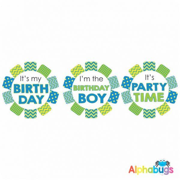 Birthday Badge Stickers – Blue Rosettes