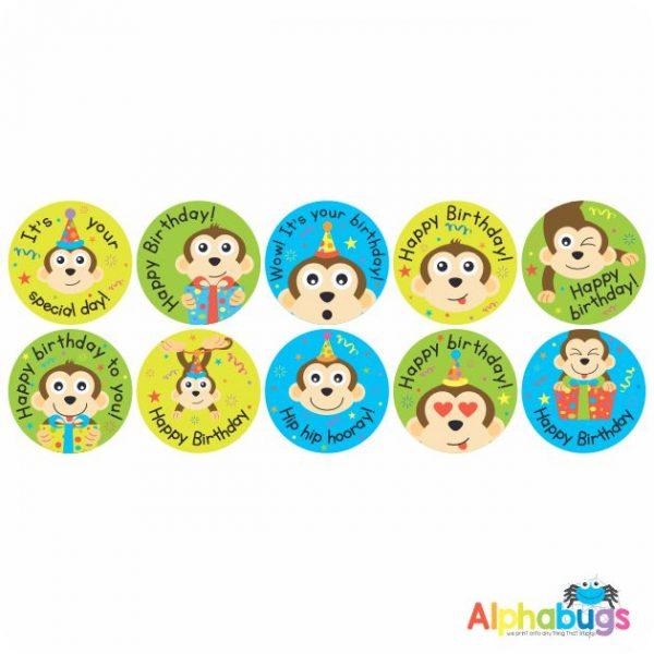 Birthday Stickers – Monkey Mischief
