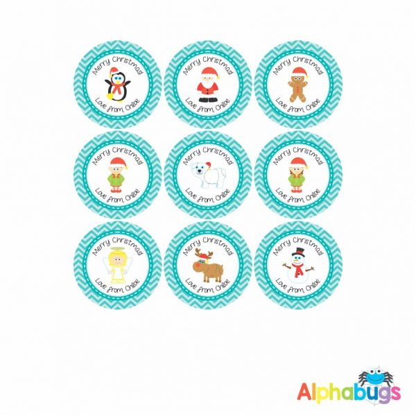 Gift Labels – Christmas Characters Teal