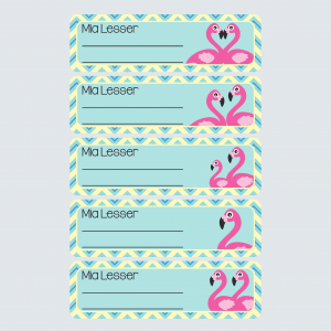 Book Labels – Fab Flamingos