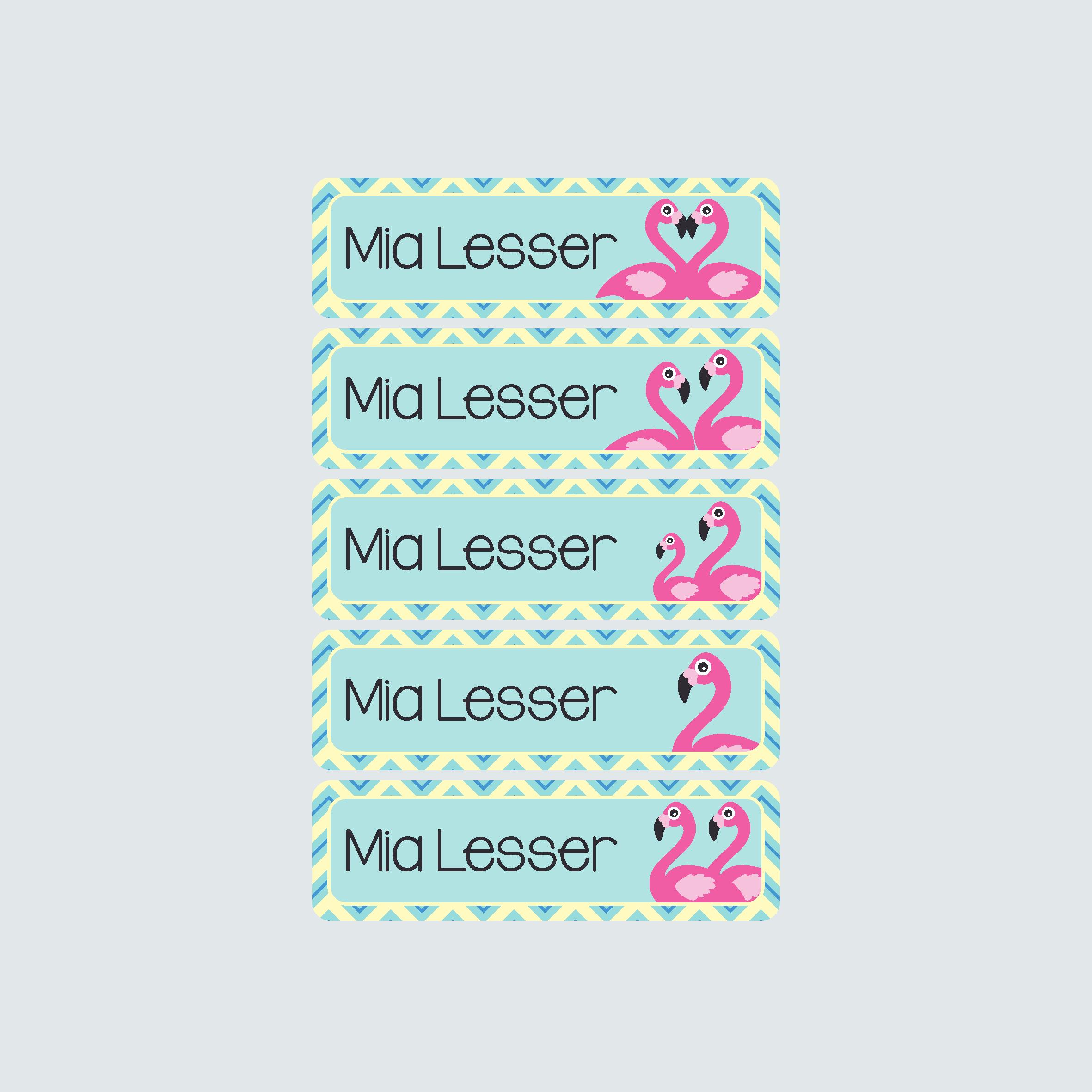 Small Name Labels – Fab Flamingos