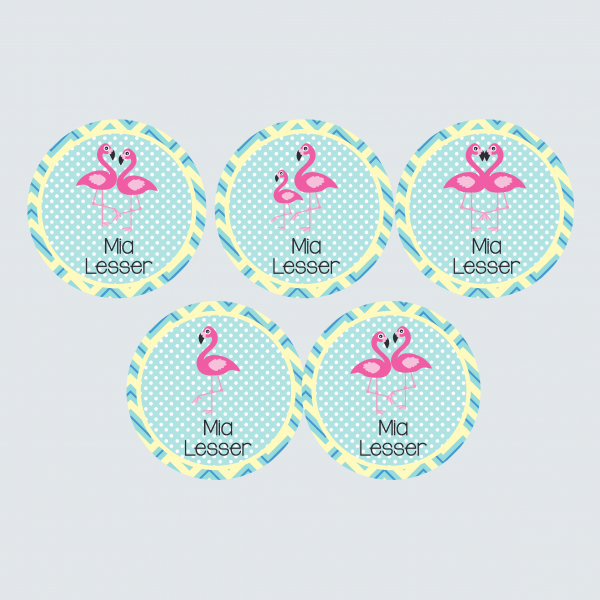 Large Round Labels – Fab Flamingos