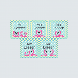 Square Labels – Fab Flamingos