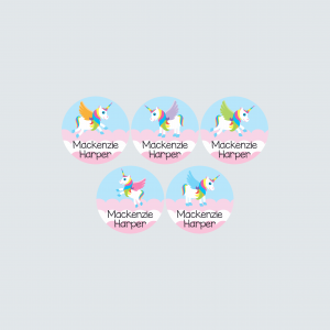 Small Round Labels – My Little Unicorn