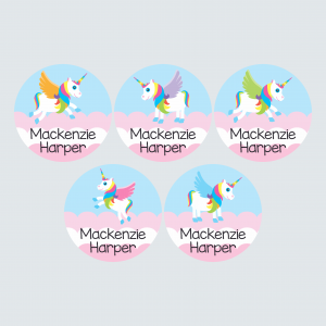 Large Round Labels – My Little Unicorn