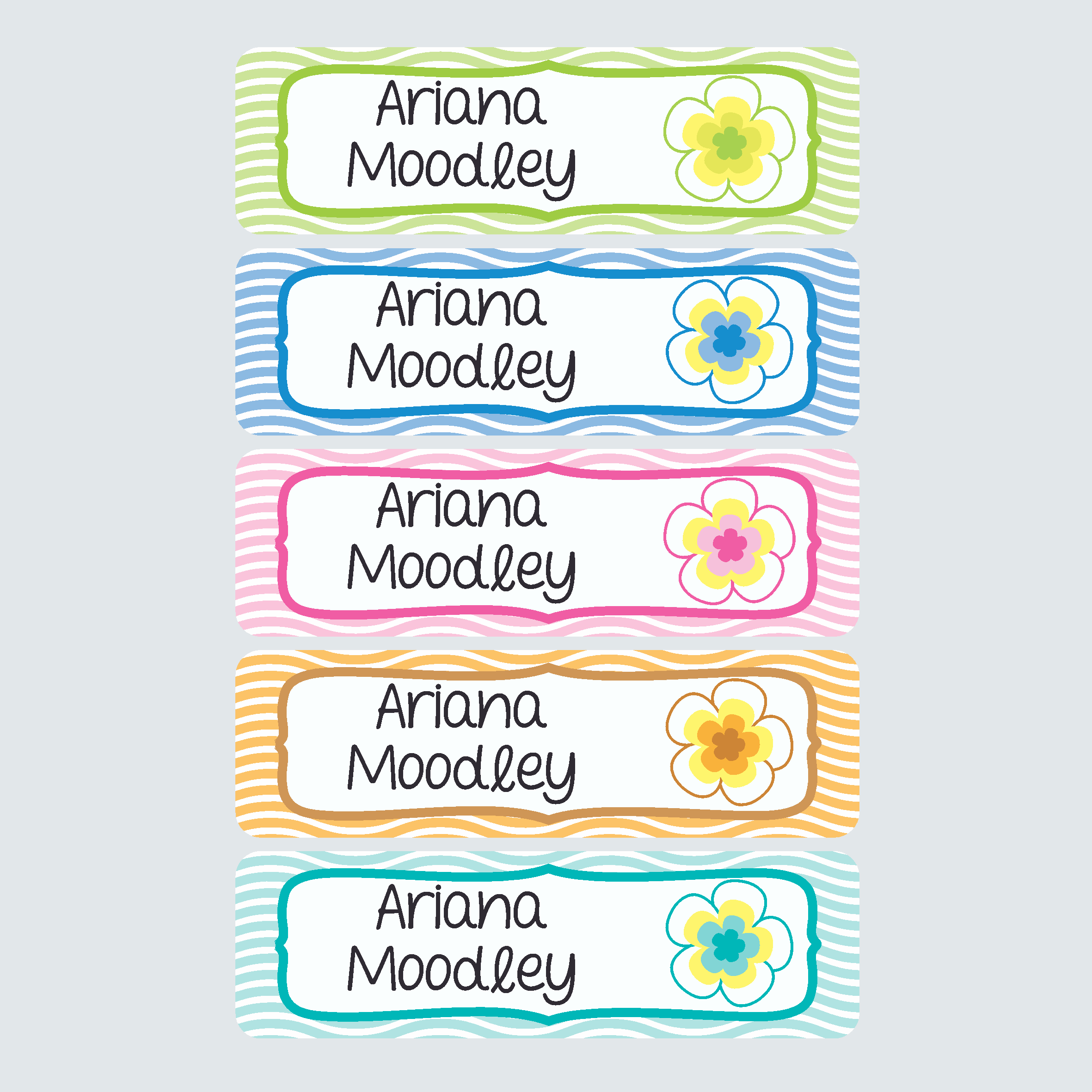 Large Name Labels Pacific Paradise Alphabugs