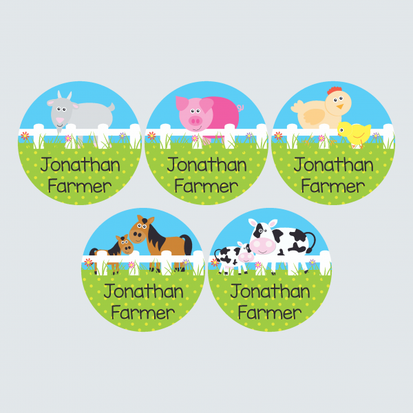 Large Round Labels – At the Farm