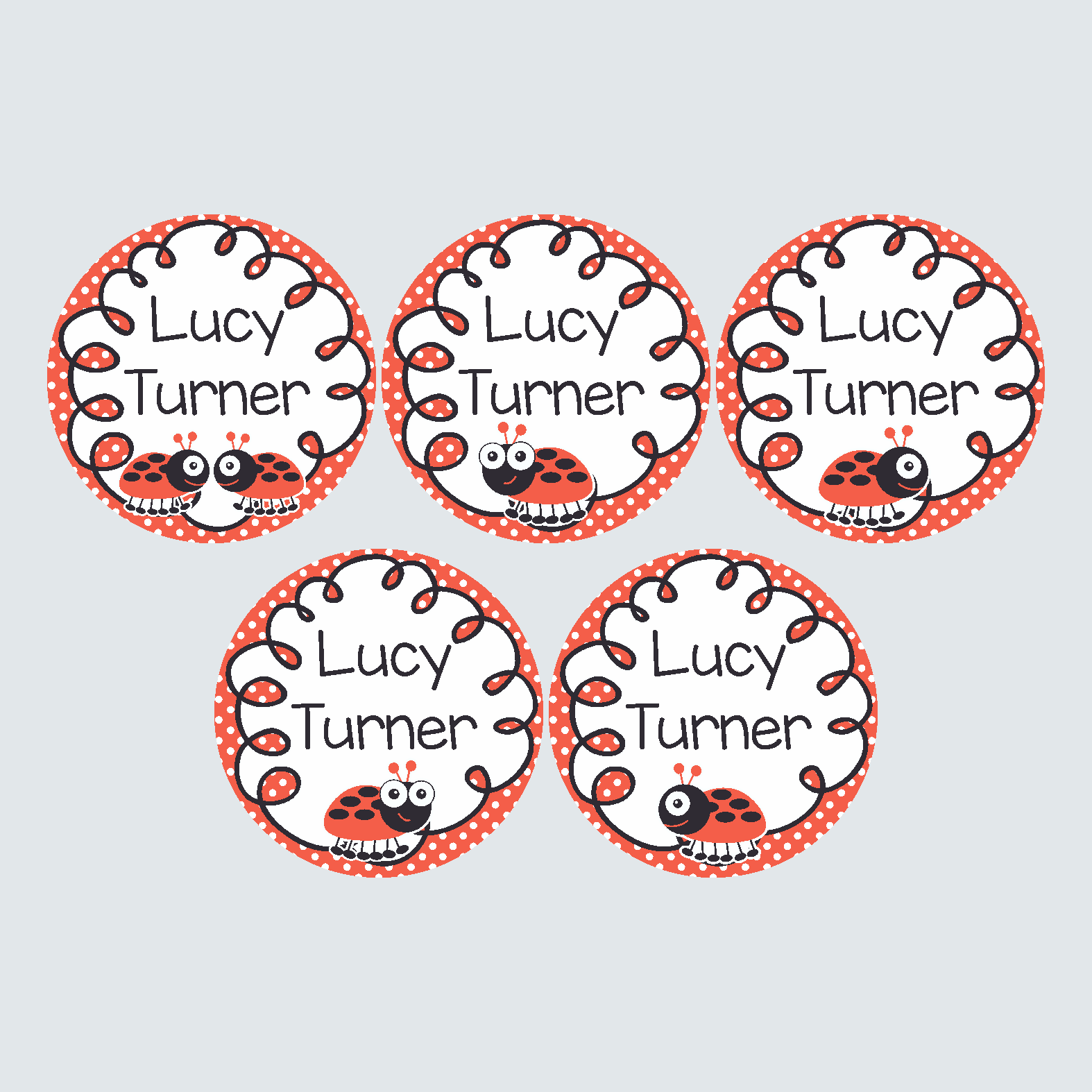 Large Round Labels – Little Ladybug