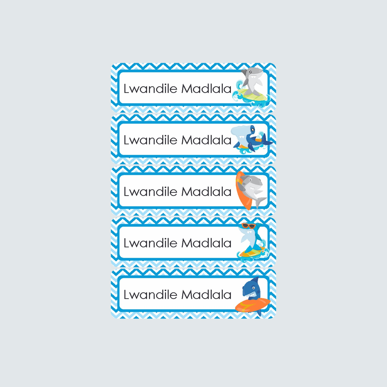 Small Name Labels – Shark Attack
