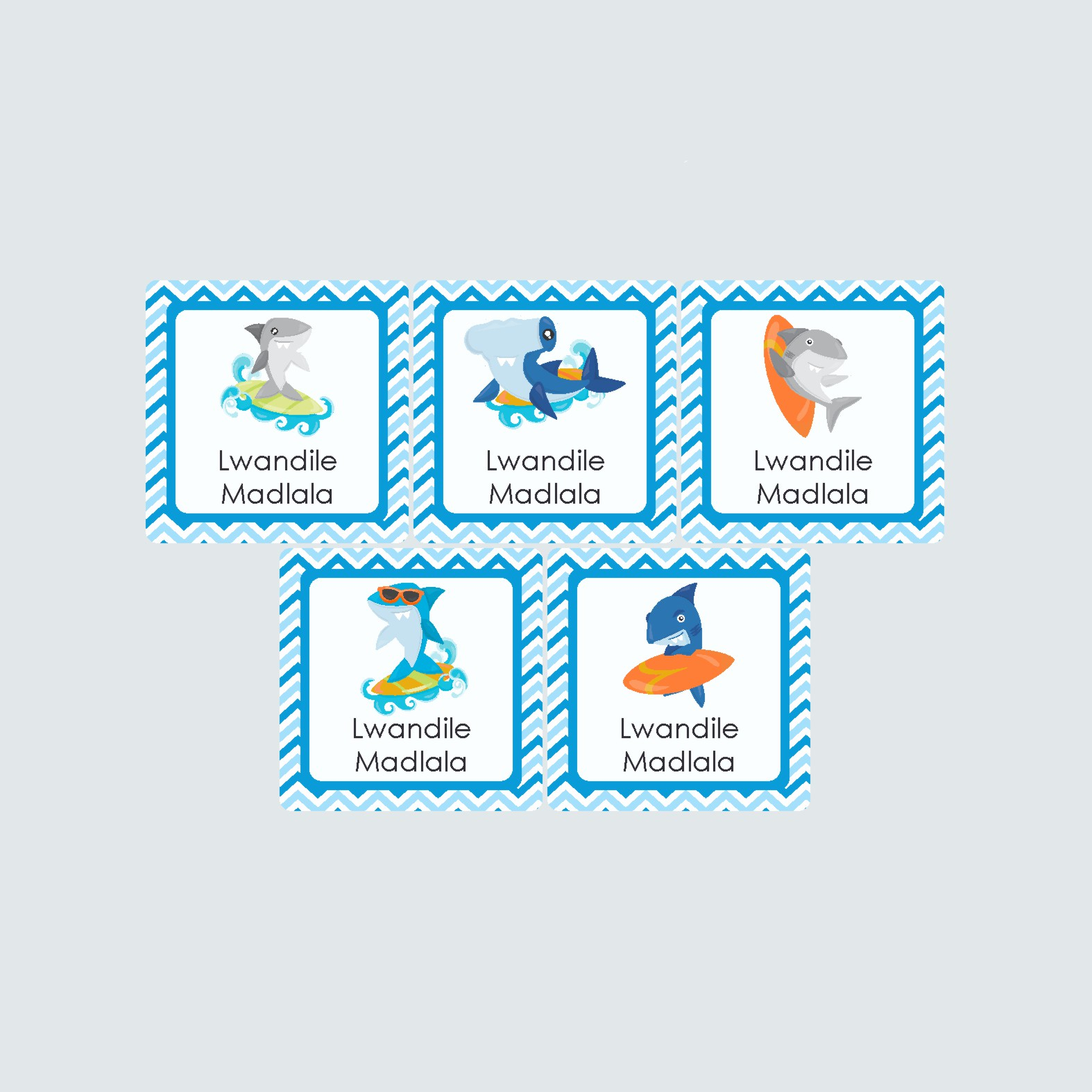 Square Labels – Shark Attack