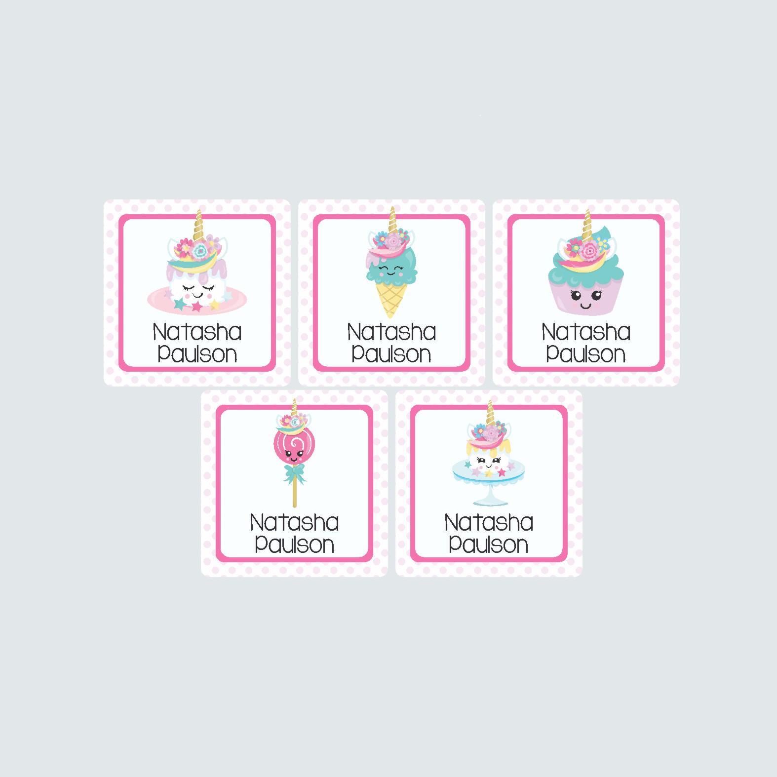 Square Labels – Unicorn Treats
