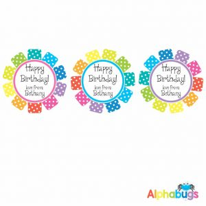Gift Labels – Rainbow Rosettes (Round)