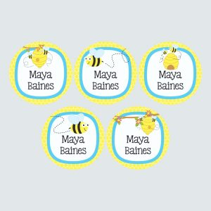 Large Round Labels – Busy Bees