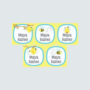 Square Labels – Busy Bees
