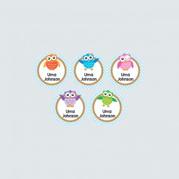 Small Round Labels – Wise Owls