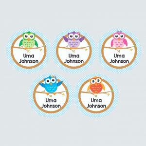 Large Round Labels – Wise Owls