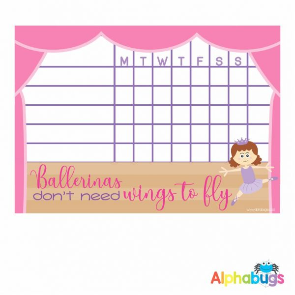 Write 'n' Wipe Chart – Beautiful Ballerinas Brunette