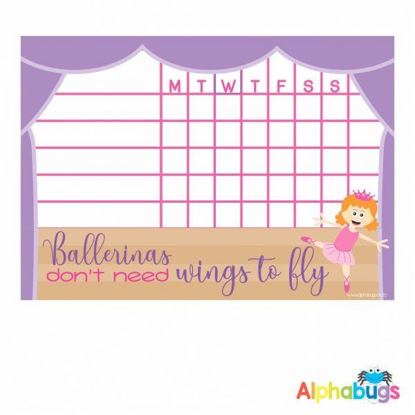 Write 'n' Wipe Chart – Beautiful Ballerinas Red