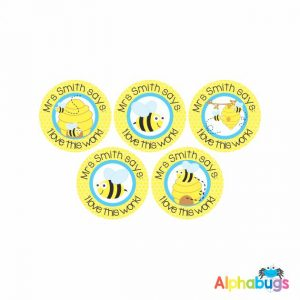 Pre-Designed Personalised Stickers – Busy Bees 1