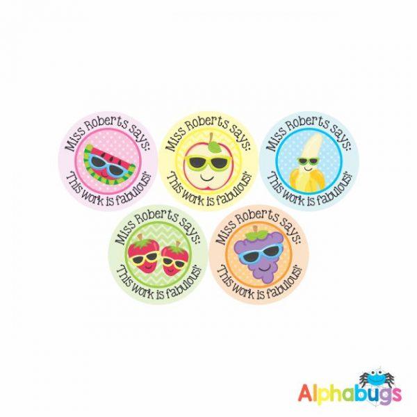 Pre-Designed Personalised Stickers – Cutie Fruity 1