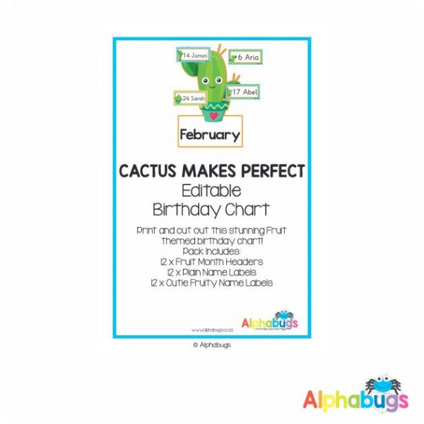 Classroom Decor – Cactus Makes Perfect Birthday Chart