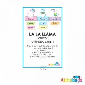 Classroom Decor – La La Llama Birthday Chart