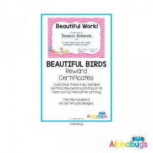 Classroom Decor – Beautiful Birds Reward Certificates