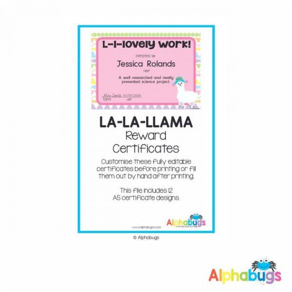 Classroom Decor – La La Llama Reward Certificates