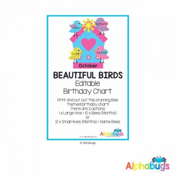 Classroom Decor – Beautiful Birds Birthday Chart