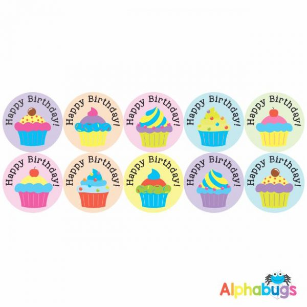 Birthday Stickers – Colour Cupcakes